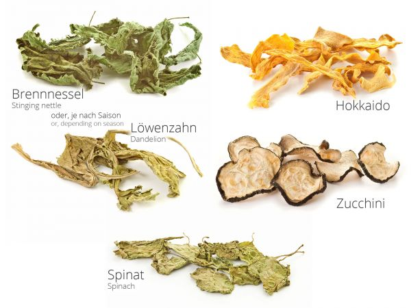 Vegetable mix for feeding Shrimp - Stinging nettle, dandelion, spinach, zucchini, hokkaido